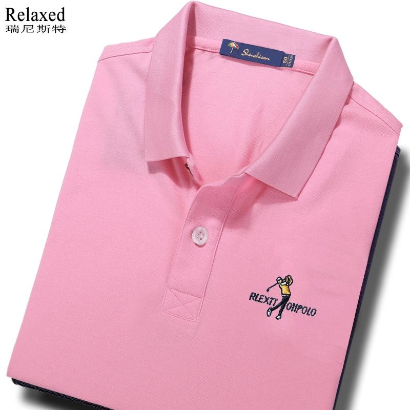 粉红色T恤 男士长袖T恤翻领保罗POLO衫粉色上衣服粉红色高尔夫球秋冬季有领T_推荐淘宝好看的粉红色T恤