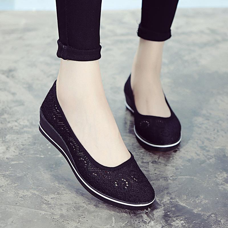 孕妇坡跟鞋 厚底护士鞋黑色夏女坡跟镂空透气妈网美容全黑工作孕妇舒适不累脚_推荐淘宝好看的孕妇坡跟鞋
