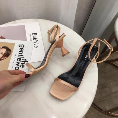 罗马高跟鞋 凉鞋女ins潮2020新款黑色高跟鞋罗马方头一字带扣小码313233粗跟_推荐淘宝好看的女罗马高跟鞋