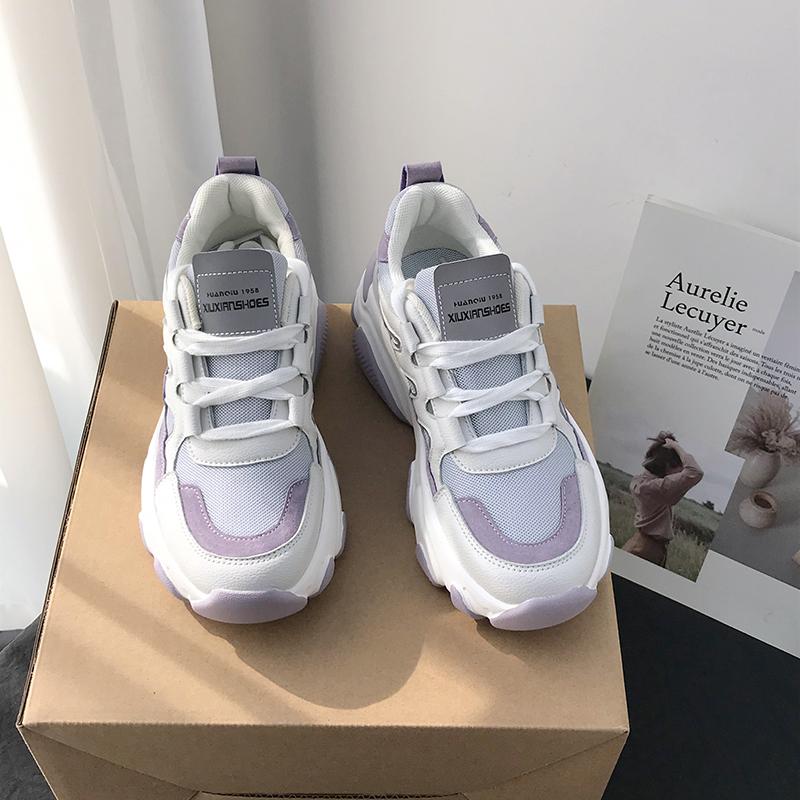 紫色运动鞋 环球浅紫色老爹鞋女ins潮运动休闲鞋2020新款春季百搭软底跑步鞋_推荐淘宝好看的紫色运动鞋