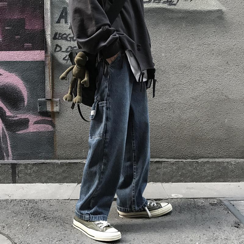 低腰直筒牛仔裤 秋季韩版ins街头潮流老爹裤阔腿牛仔裤男女嘻哈宽松直筒牛仔裤子_推荐淘宝好看的女低腰直筒牛仔裤