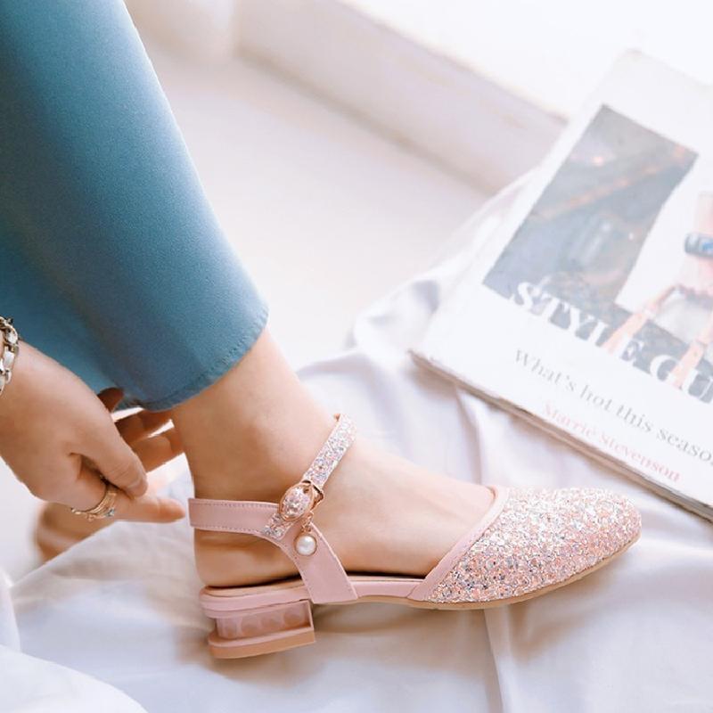 粉红色凉鞋 2018夏季甜美亮片后空带低跟方跟圆头女包头凉鞋白色浅蓝色粉红色_推荐淘宝好看的粉红色凉鞋
