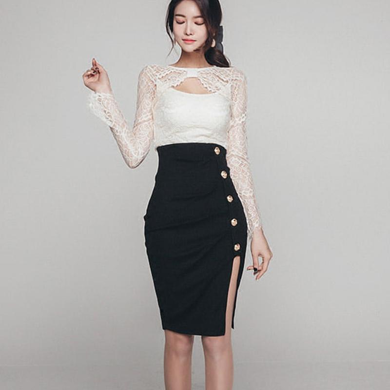 半身裙 春夏季2019韩版新款高腰包臀修身OL气质中裙半身一步裙子女包裙_推荐淘宝好看的半身裙