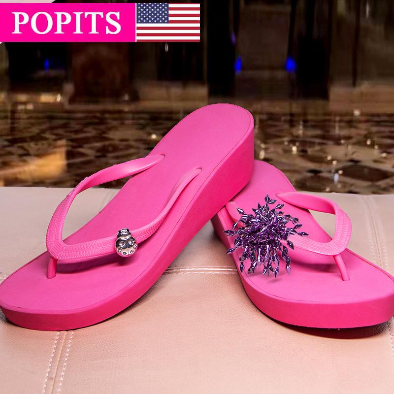 坡跟鱼嘴鞋 POPITS女士正品5厘米坡跟时尚人字拖沙滩夹脚拖鞋_推荐淘宝好看的女坡跟
