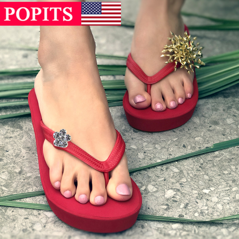 女式坡跟鞋 POPITS女士正品5厘米坡跟时尚人字拖沙滩夹脚拖鞋_推荐淘宝好看的女坡跟鞋