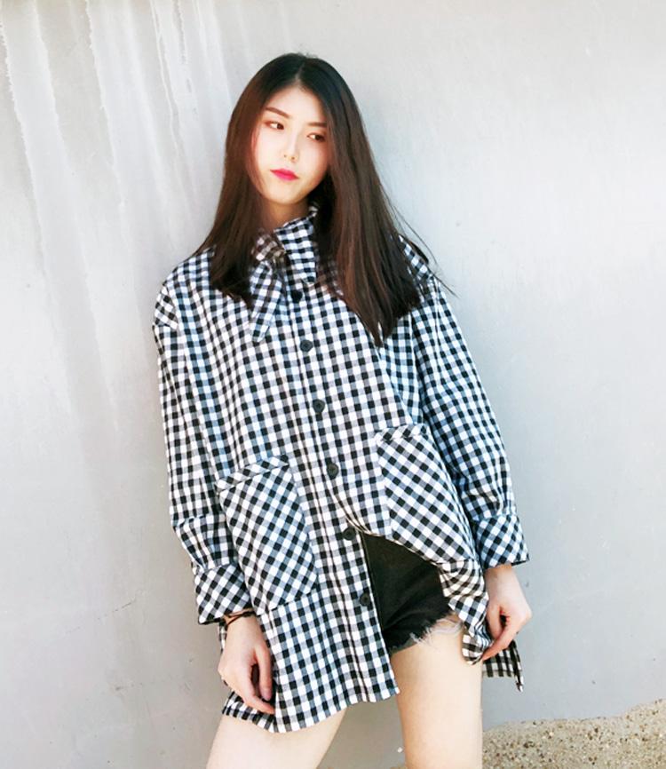 长款格子衬衫 黑白格子领子系带长袖中长款棉麻衬衫前短后长新款外套宽松罩衫女_推荐淘宝好看的女长款格子衬衫