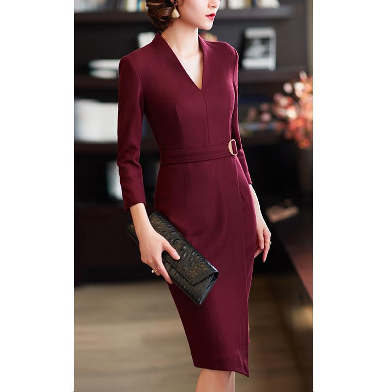 八分袖连衣裙 尘颜春季优雅连衣裙气质V领酒红色八分袖连身裙F458_推荐淘宝好看的八分袖连衣裙