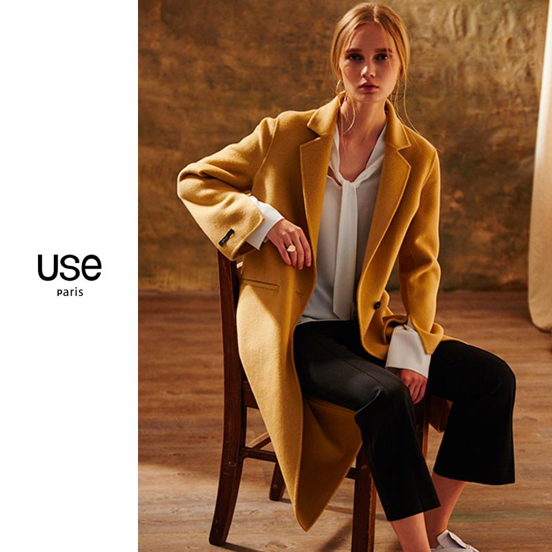 外套 双面呢羊毛大衣女USE2020秋冬款驼色中长款双面绒大衣毛呢外套OL_推荐淘宝好看的女外套
