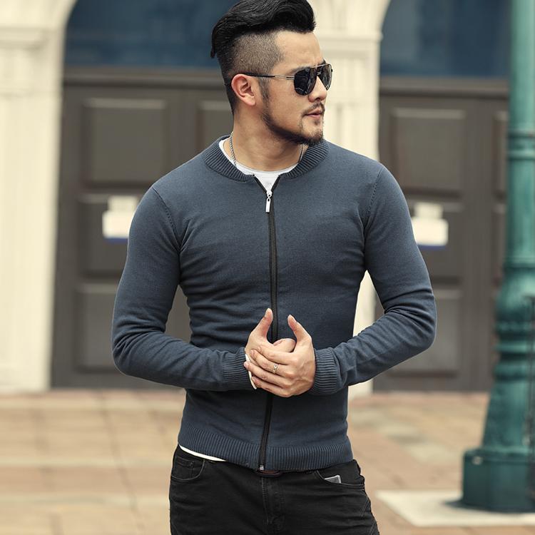 男士开衫毛衣 2021春装新款  男装拉链针织开衫 型男修身开衫毛衣 男士线衫J776_推荐淘宝好看的男开衫毛衣