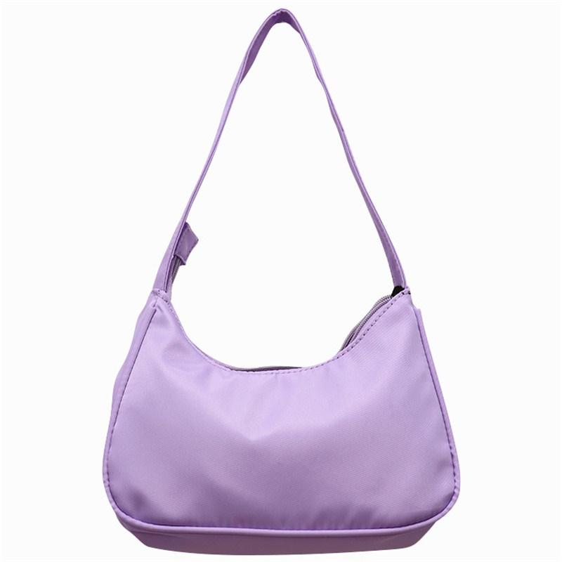 紫色糖果包 2021新款糖果紫色腋下包小众hobo个性包复古简约手提包单肩尼龙包_推荐淘宝好看的紫色糖果包
