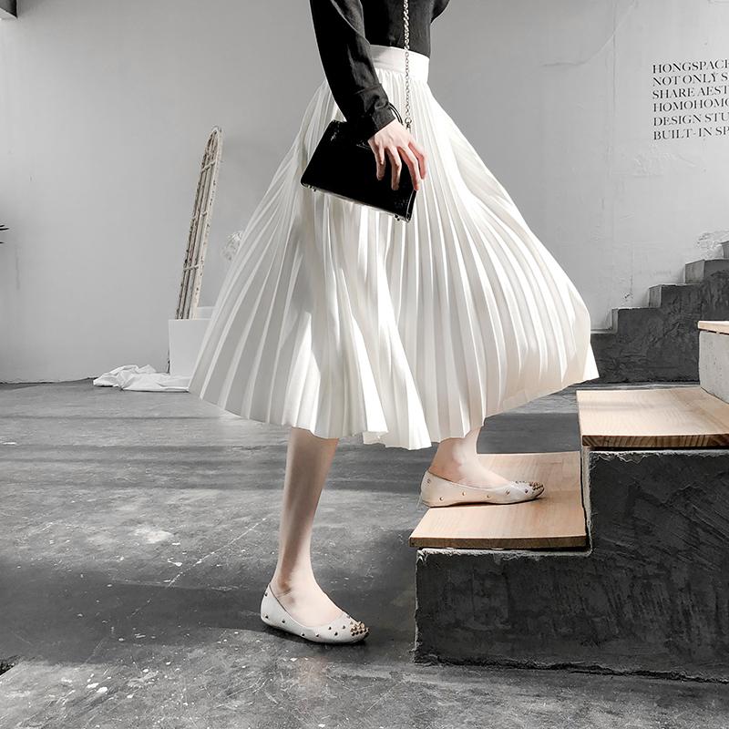白色半身裙 高腰百褶裙女中长款白色半身裙2021春秋伞裙显瘦a字裙长裙秋裙子_推荐淘宝好看的白色半身裙