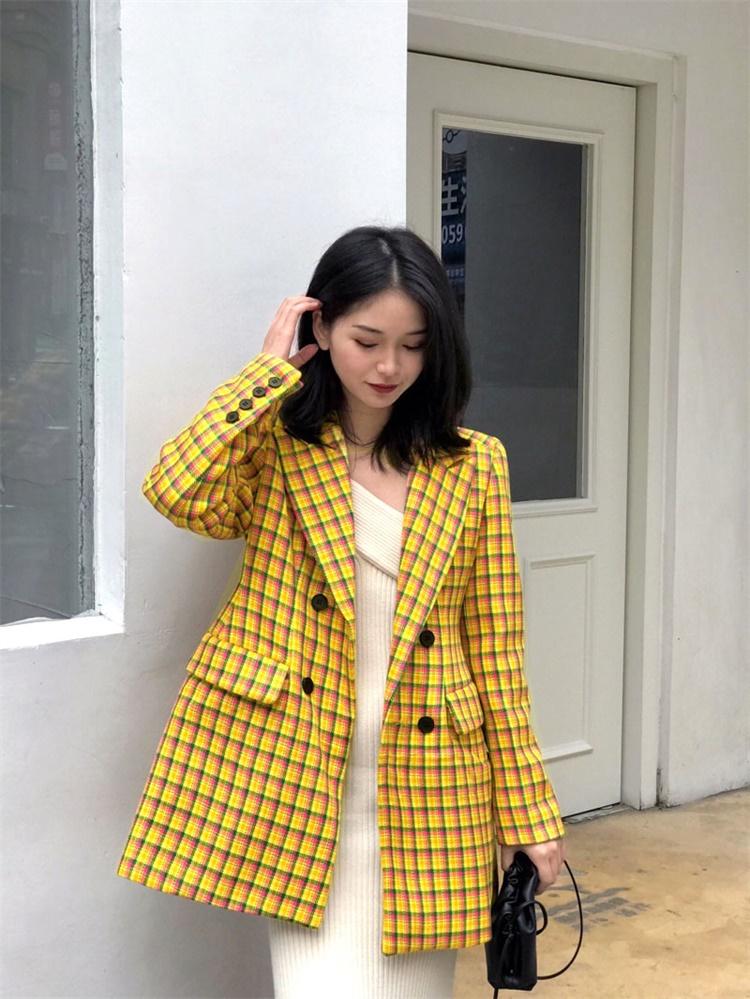 黄色小西装 毛呢外套女中长款小个子2020流行秋冬韩版黄色格子显瘦型呢子西装_推荐淘宝好看的黄色小西装