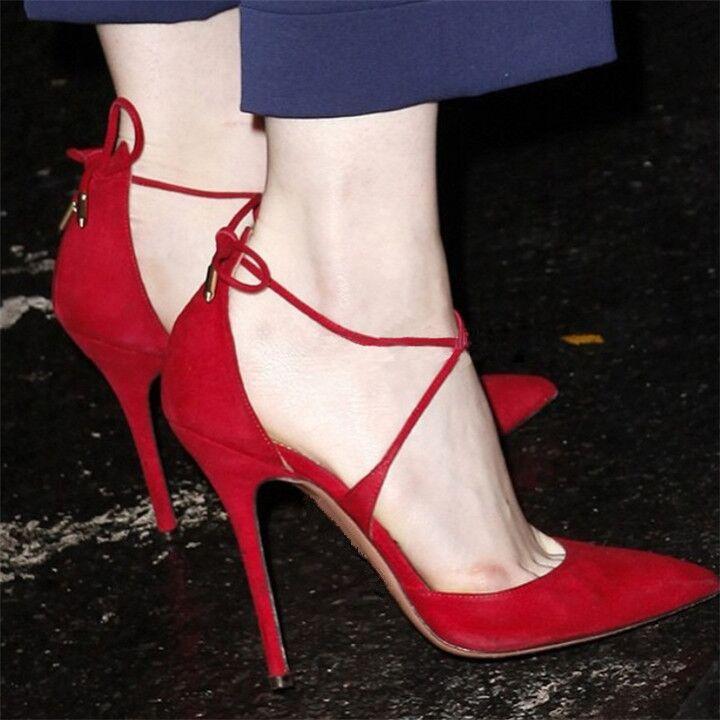 细高跟单鞋 2020秋欧美新款交叉绑带高跟鞋细跟性感尖头浅口单鞋红色系带女鞋_推荐淘宝好看的女细高跟单鞋
