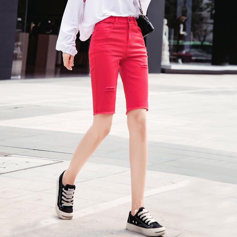 红色牛仔裤 大红色牛仔短裤女夏季薄款2021新款高腰紧身五分裤女辣妹裤子中裤_推荐淘宝好看的红色牛仔裤