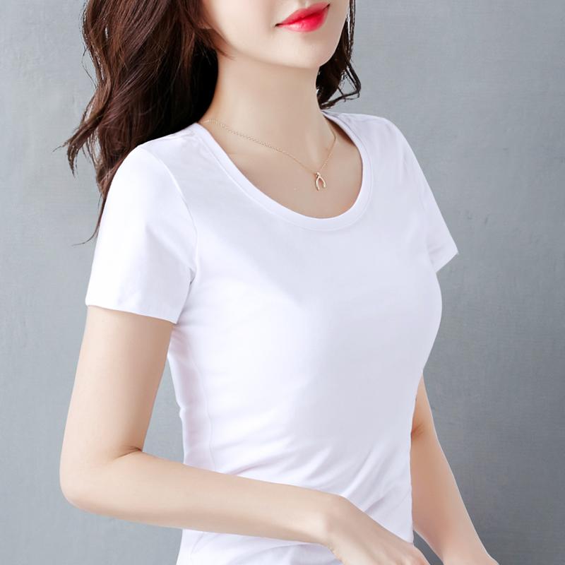 纯棉圆领t恤 纯棉白色t恤女短袖修身打底衫夏2020年新款内搭半袖女士短款上衣T_推荐淘宝好看的女纯棉圆领t恤