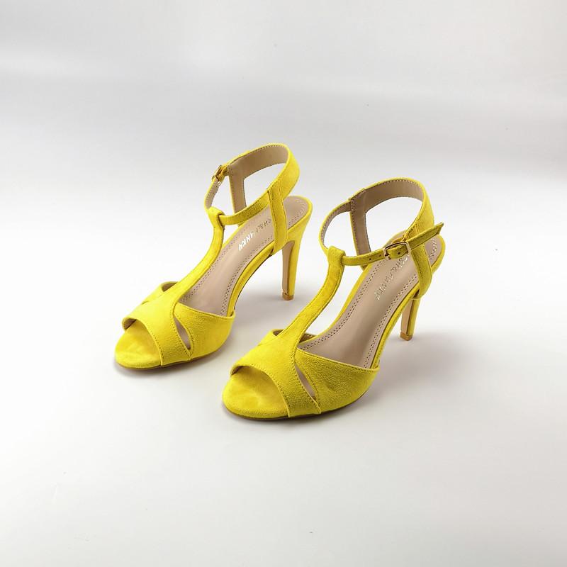 黄色鱼嘴鞋 外贸夏季新款黄色镂空细跟凉鞋 绒面T型带中空鱼嘴高跟鞋_推荐淘宝好看的黄色鱼嘴鞋