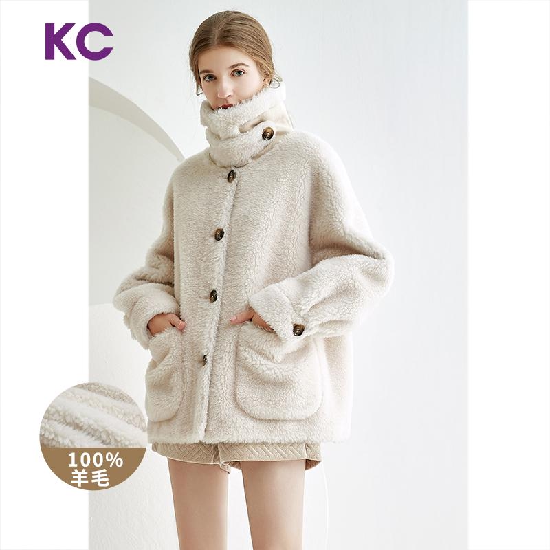白色皮草 KC皮草2020新款时尚短款毛绒颗粒羊剪绒大衣羊羔毛皮毛一体外套女_推荐淘宝好看的白色皮草