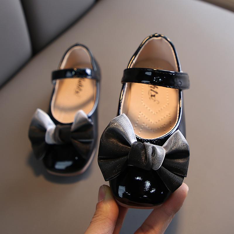 粉红色豆豆鞋 童鞋女童皮鞋春秋儿童单鞋黑色学生演出鞋粉红色豆豆鞋小女孩公主_推荐淘宝好看的粉红色豆豆鞋