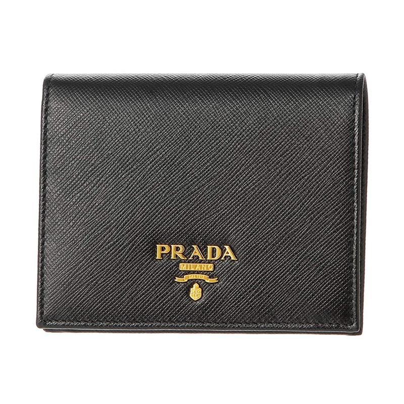 prada钱包 Prada 普拉达 黑色牛皮LOGO金属贴标压纹对折钱包女 1MV204 QWA_推荐淘宝好看的女prada钱包