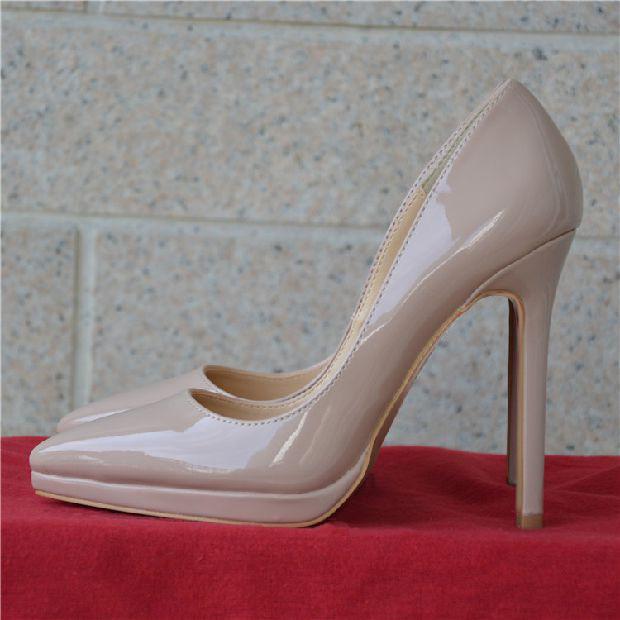 细高跟单鞋 欧洲站早春款裸色防水台高跟鞋12cm浅口细跟单鞋漆皮尖头女鞋婚鞋_推荐淘宝好看的女细高跟单鞋