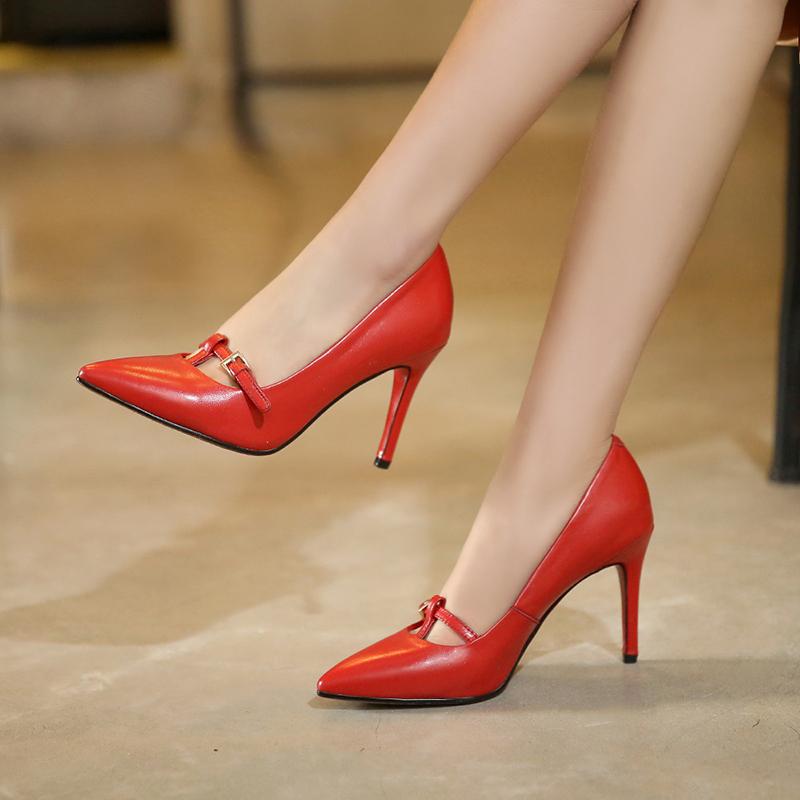 红色尖头鞋 2021真皮尖头单鞋细高跟牛皮黑色红色婚鞋小码32大码42办公室女鞋_推荐淘宝好看的红色尖头鞋