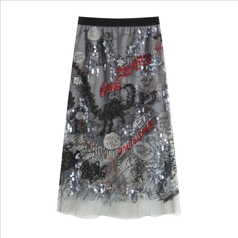 半身裙 2021夏季新款网纱裙半身裙重工亮片刺绣同款半裙_推荐淘宝好看的半身裙