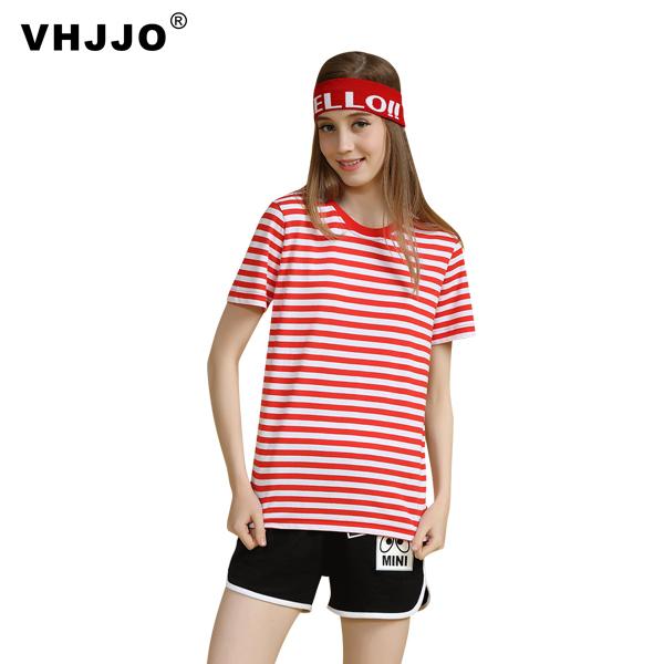 空白t恤 VHJJO海军风条纹T恤男纯色空白衫打底衫基础款学生T恤女班服短袖_推荐淘宝好看的女空白t恤