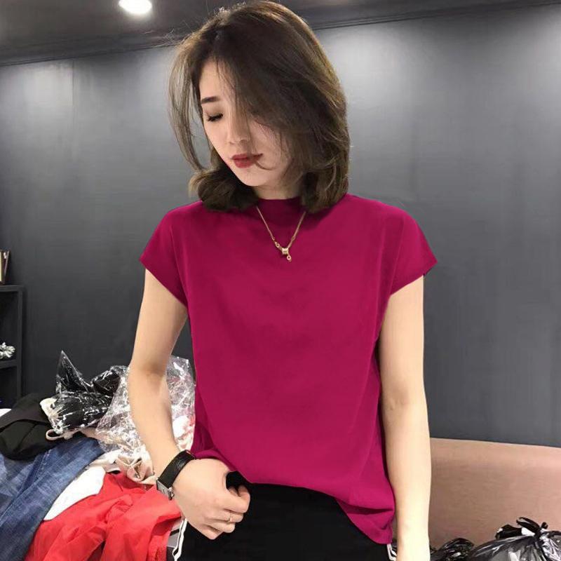 红色针织衫 冰丝短袖t恤女夏季2021新款韩版半高领针织衫女薄款宽松红色上衣_推荐淘宝好看的红色针织衫