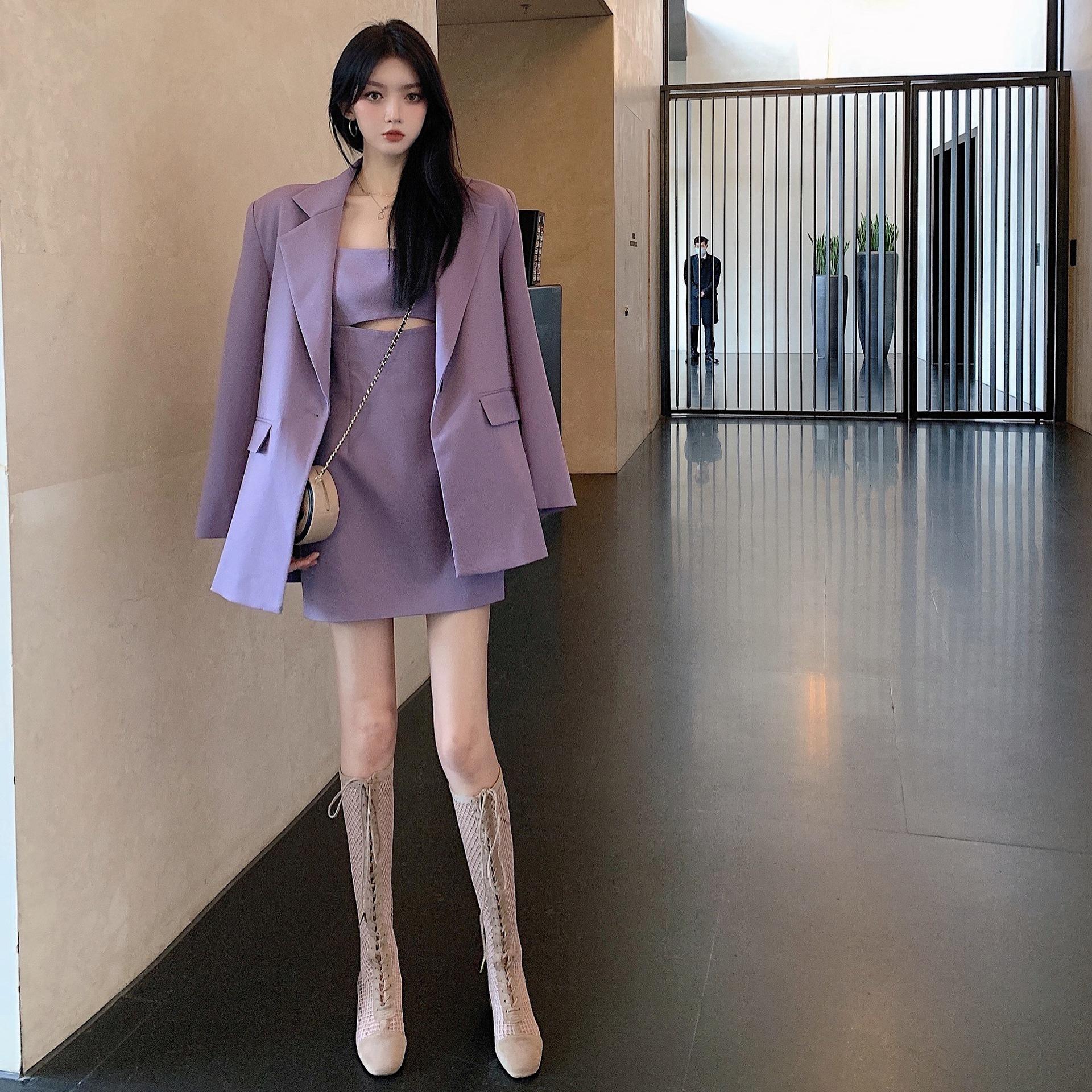 紫色小西装 2021西装外套宽松休闲薄款小西服紫色中长款上衣纯色吊带_推荐淘宝好看的紫色小西装