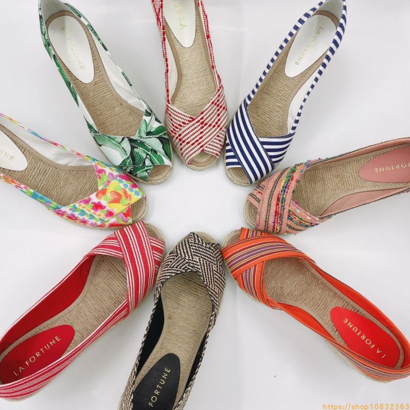红色坡跟鞋 欧美田园草编坡跟凉鞋女一脚蹬休闲交叉布面鱼嘴鞋女鞋红色妈妈鞋_推荐淘宝好看的红色坡跟鞋
