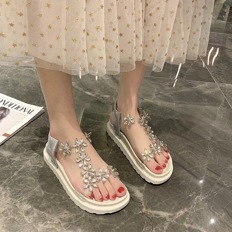 罗马女凉鞋 网红水钻松糕厚底凉鞋女2021夏季新款百搭休闲一字扣时装罗马凉鞋_推荐淘宝好看的女罗马凉鞋