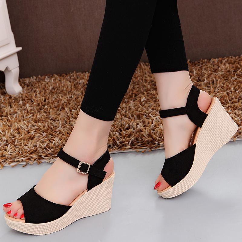 坡跟罗马鞋 2020夏季新款高跟坡跟防水台厚底女凉鞋百搭绒面休闲女鞋子罗马鞋_推荐淘宝好看的坡跟罗马鞋
