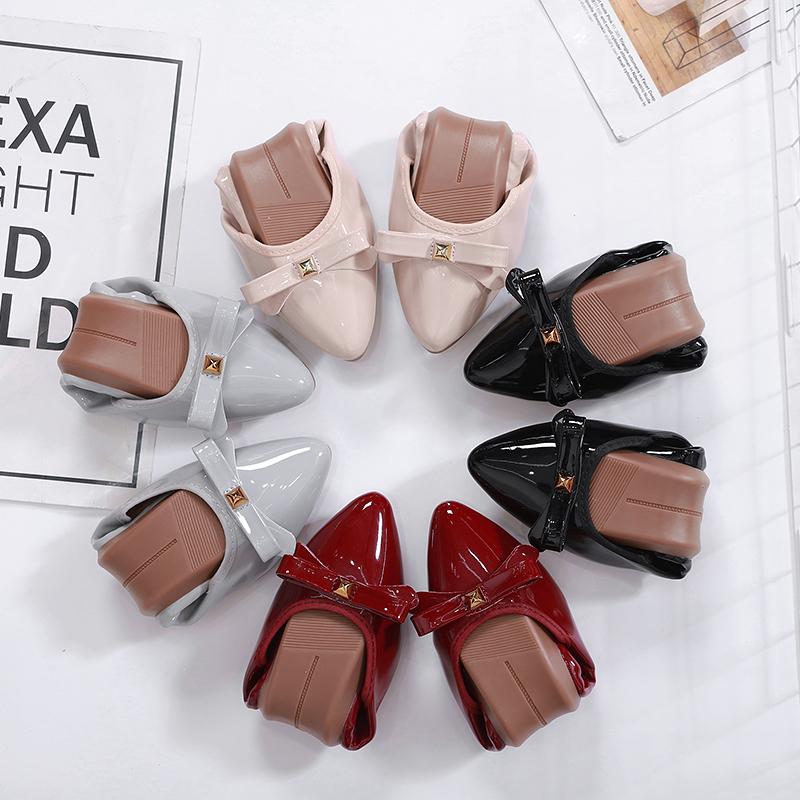 红色豆豆鞋 蛋卷单鞋2020春款尖头船鞋女软底豆豆鞋舒适红色平底鞋黑色上班鞋_推荐淘宝好看的红色豆豆鞋