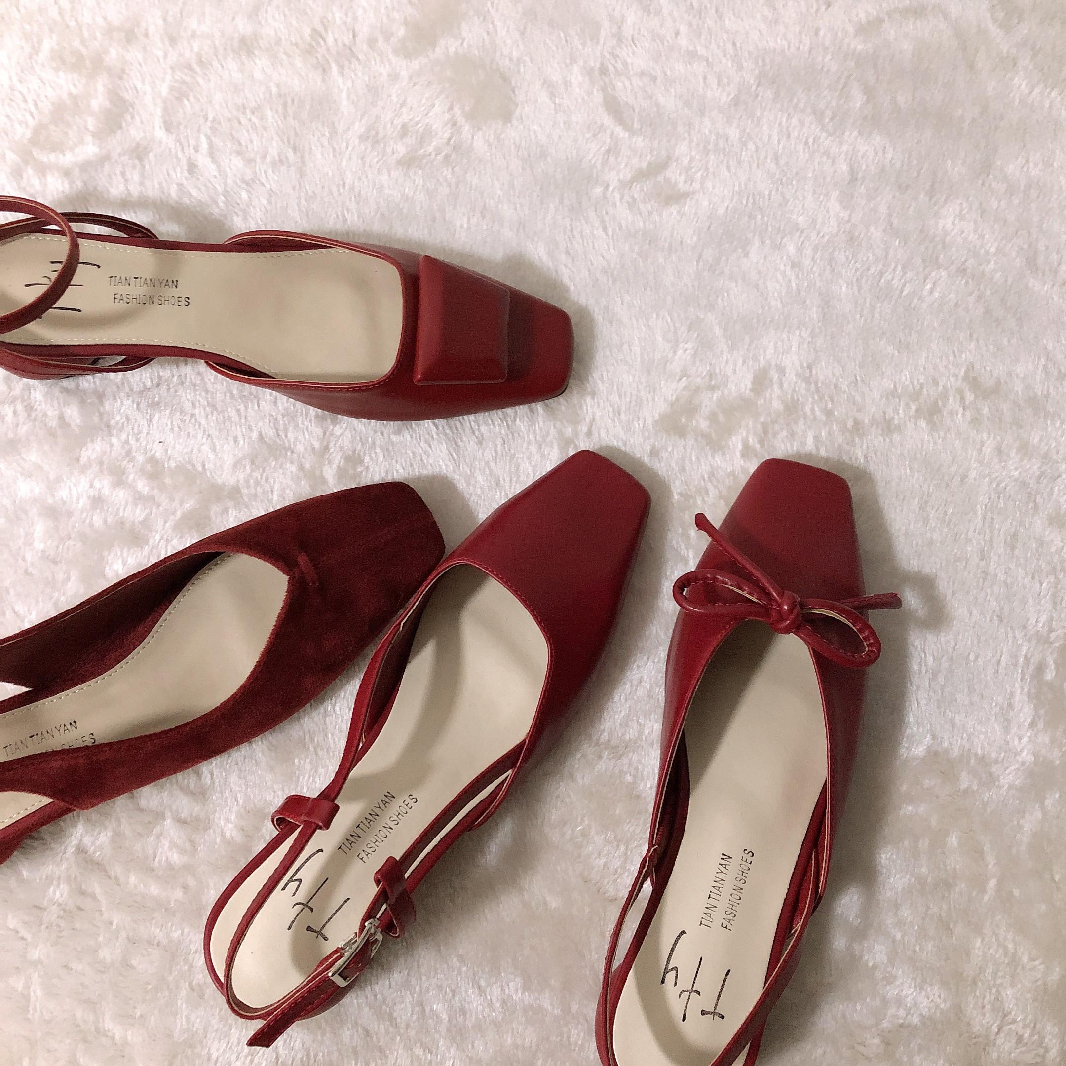 红色凉鞋 本期必入敲美红色系方头后空蝴蝶结粗跟鞋方扣浅口包头夏季凉鞋女_推荐淘宝好看的红色凉鞋