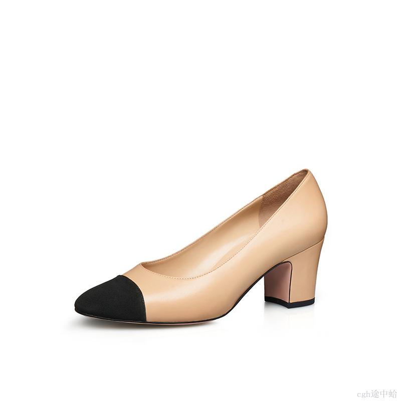粗高跟单鞋 女单鞋2021哥弟专柜正品双色拼接粗跟春季新款真皮浅口圆头高跟鞋_推荐淘宝好看的女粗高跟单鞋
