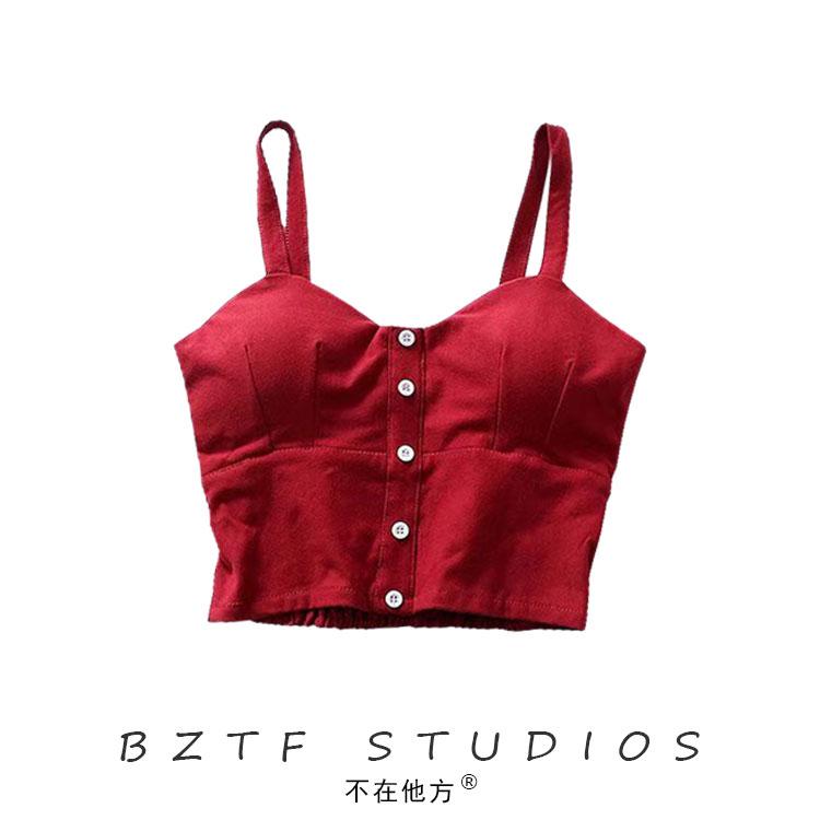 红色背心 BZTF自制20夏复古红色弹力紧身修身宫廷束腰小背心高腰短款吊带衫_推荐淘宝好看的红色背心