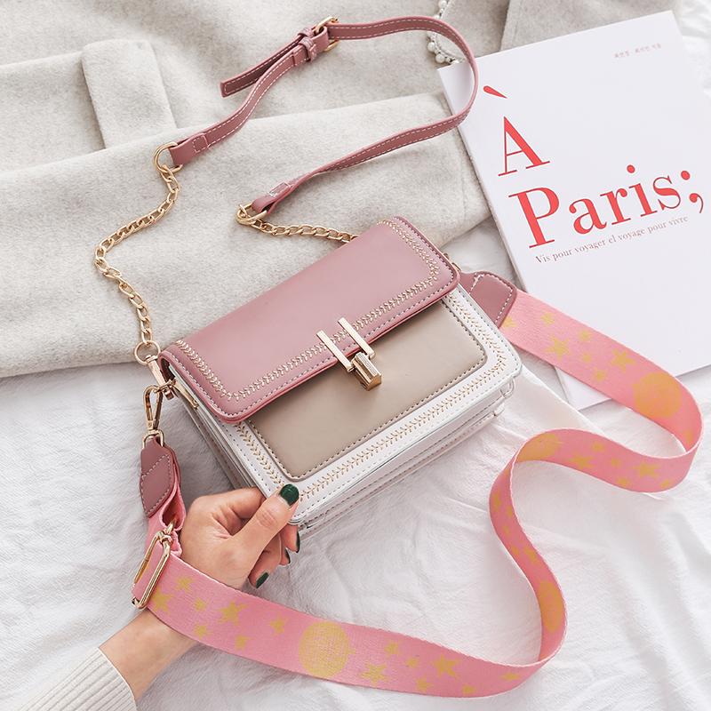 粉红色迷你包 袋鼠官方正品粉红色小方包青年女士真皮斜挎包百搭迷你链条单肩包_推荐淘宝好看的粉红色迷你包
