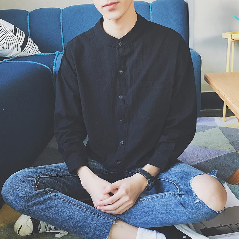 黑色衬衫 衬衫长袖男日系黑色春夏季薄款立领衬衣港风休闲男士寸衫潮流外套_推荐淘宝好看的黑色衬衫