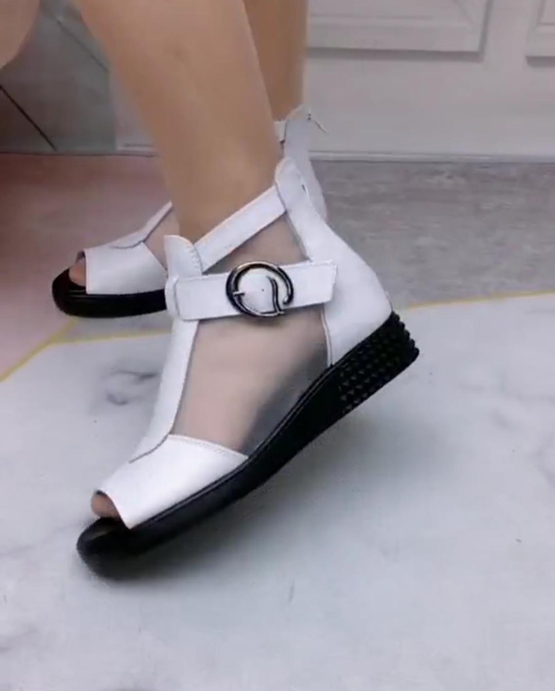 平跟罗马凉鞋 网纱凉鞋女2020夏季新款平底鱼嘴罗马女鞋大码平跟凉靴_推荐淘宝好看的女平跟罗马凉鞋