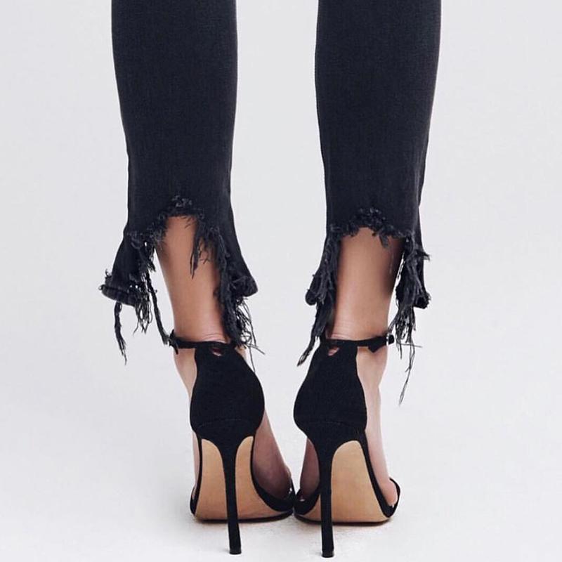 黑色鱼嘴鞋 2020夏季裸色细跟一字扣带露趾凉鞋女网红性感高跟鞋黑色百搭12cm_推荐淘宝好看的黑色鱼嘴鞋