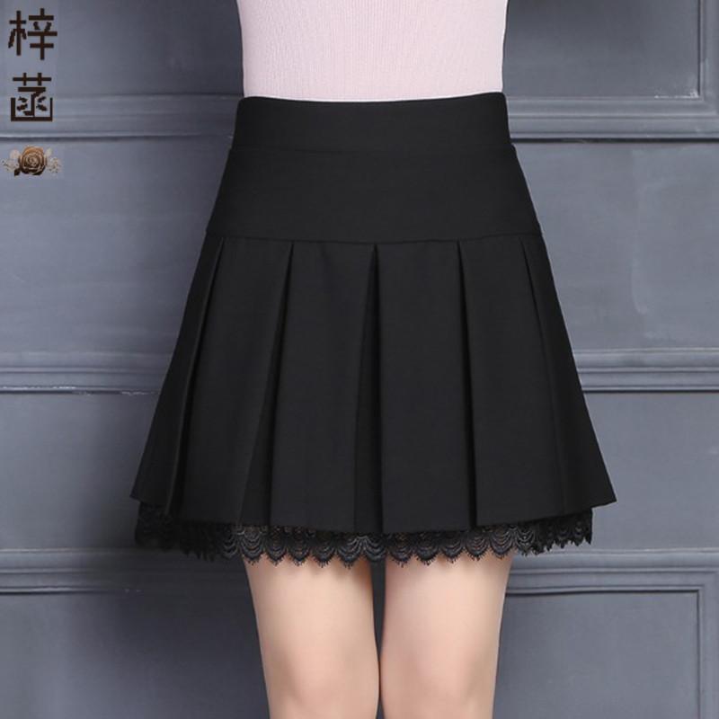 中年女半身裙 中年女士短裙春夏半身裙新款女弹力百褶裙安全裤黑色打底裙薄款_推荐淘宝好看的中年半身裙