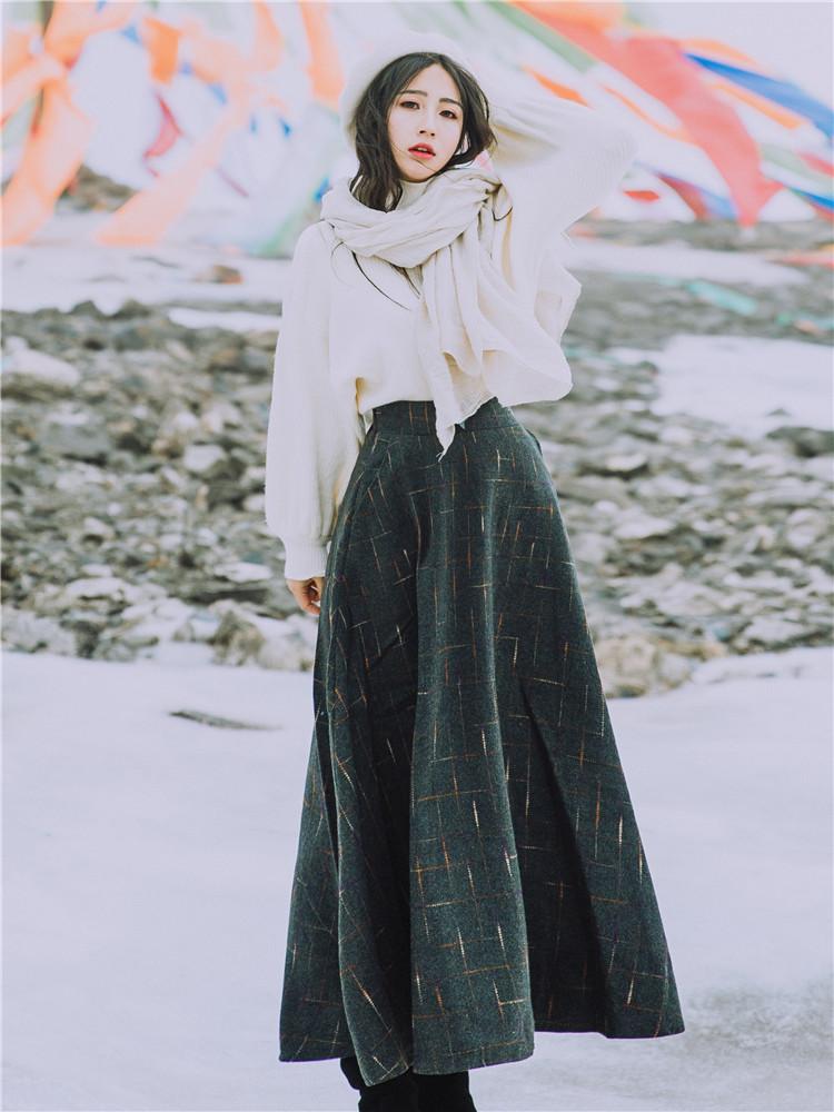 两件套连衣裙冬装 2019冬装女小香风甜美宽松毛衣搭配毛呢半身长裙两件套套装连衣裙_推荐淘宝好看的两件套连衣裙冬装