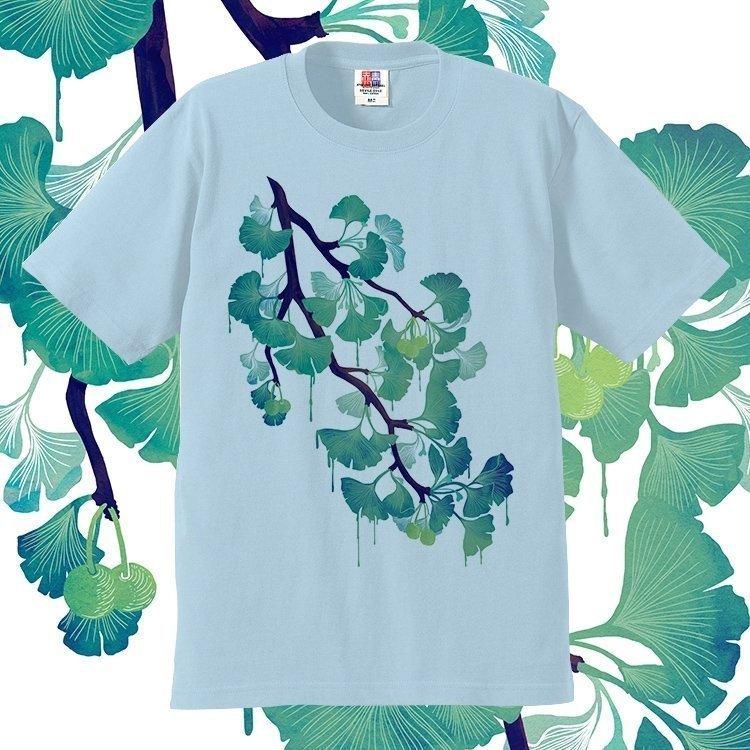 手绘t恤 原创设计手绘植物花卉Gingko银杏染印短袖T恤纯棉欧美男女包邮_推荐淘宝好看的女手绘t恤