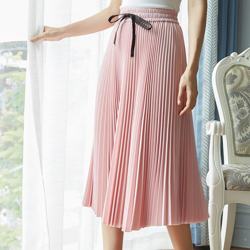 粉红色半身裙 大摆裙轻熟风整齐百褶半身裙女夏季新款宽松显瘦纯色百搭中长款_推荐淘宝好看的粉红色半身裙