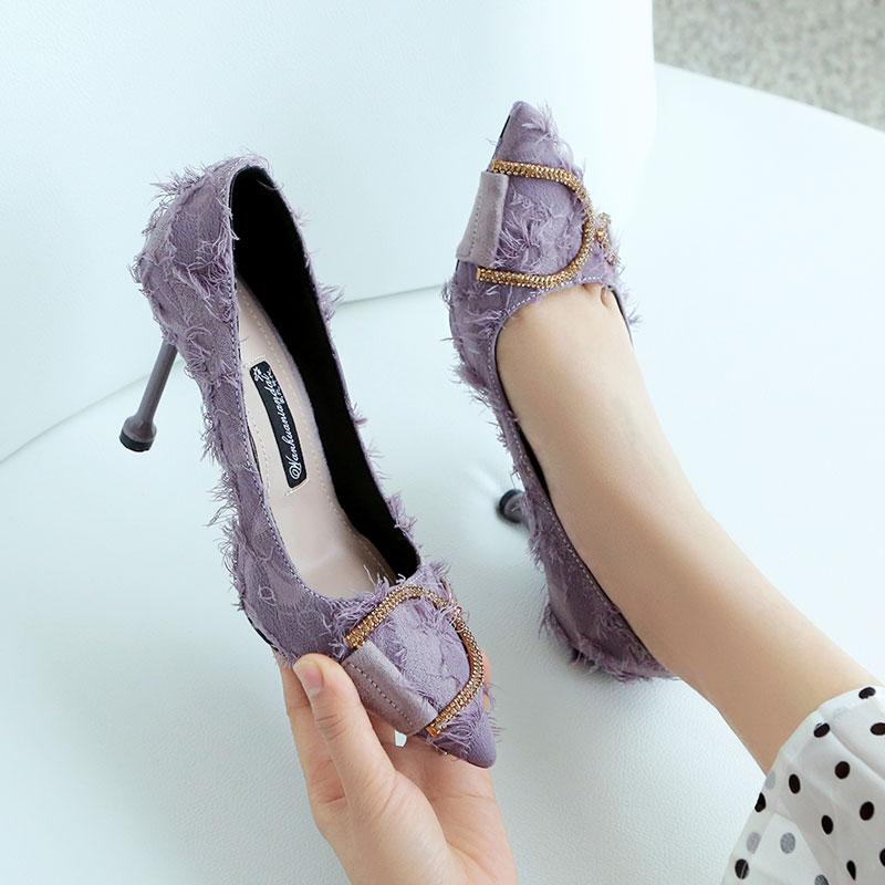 紫色高跟鞋 法式少女高跟鞋女细跟2019春季新款紫色婚鞋浅色气质网红百搭性感_推荐淘宝好看的紫色高跟鞋