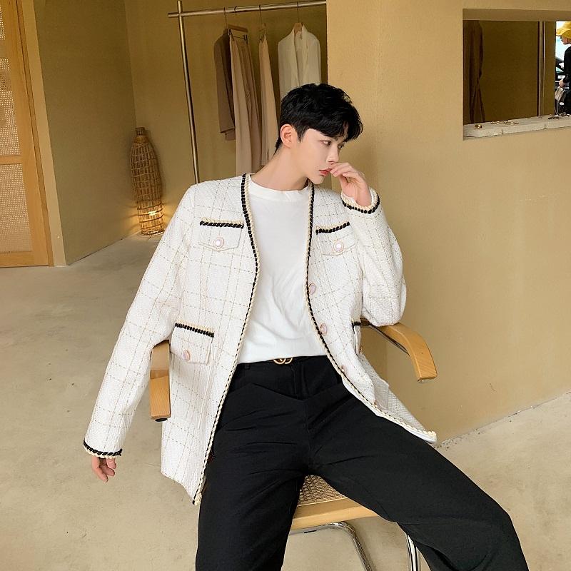 男士小西装 韩版网红气质小香风小西装男复古格纹织带宽松西服百搭开衫外套男_推荐淘宝好看的男小西装
