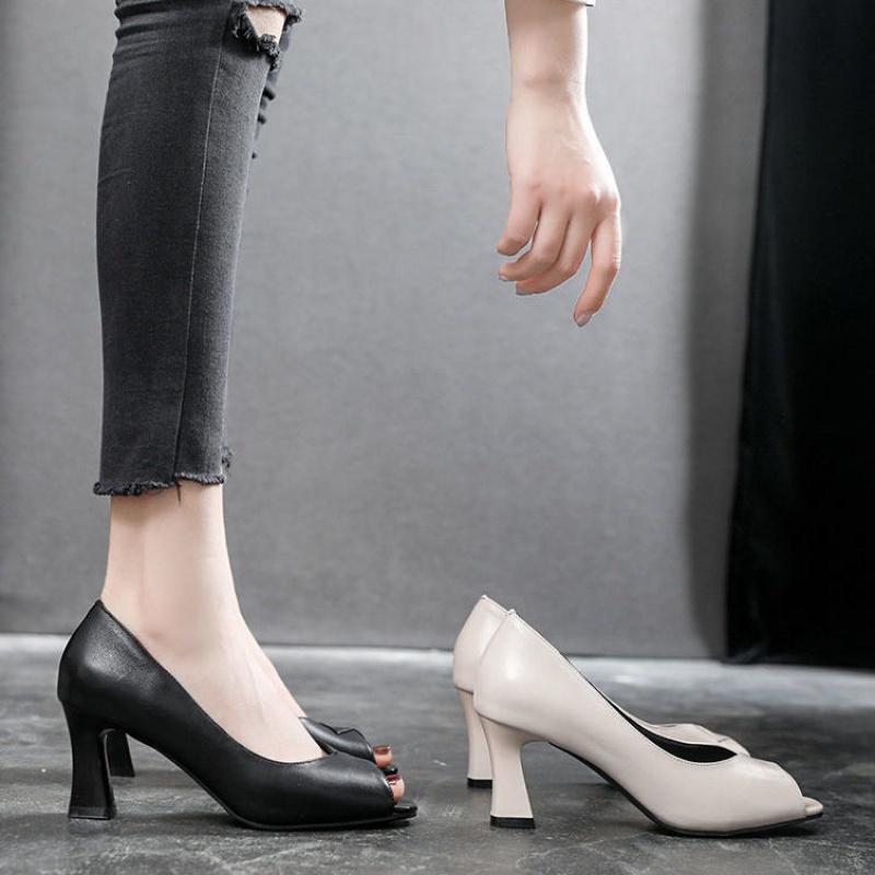鱼嘴鞋 K真软皮单鞋女浅口粗跟2021年夏季新款百搭女鞋夏软皮鱼嘴高跟鞋_推荐淘宝好看的女鱼嘴鞋