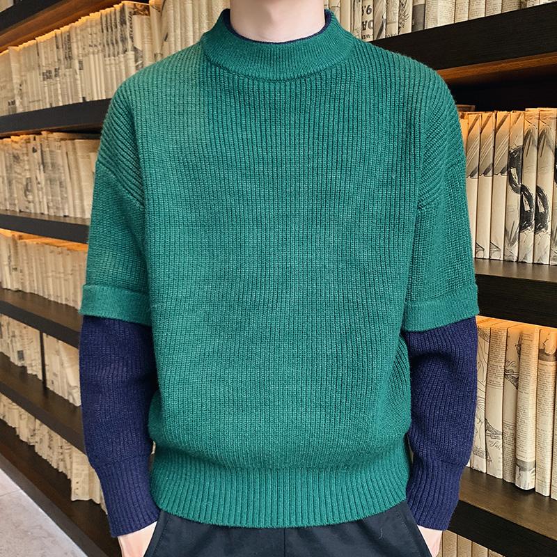 男士毛衣 冬装加厚半高领毛衣男士2021潮流针织衫线衣加绒打底衫男衣服ins_推荐淘宝好看的男士毛衣