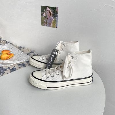 匡威白色帆布鞋 2021春季新款名仕匡威白色黑条色1970s百搭高帮帆布鞋男女街拍鞋_推荐淘宝好看的女匡威白色帆布鞋