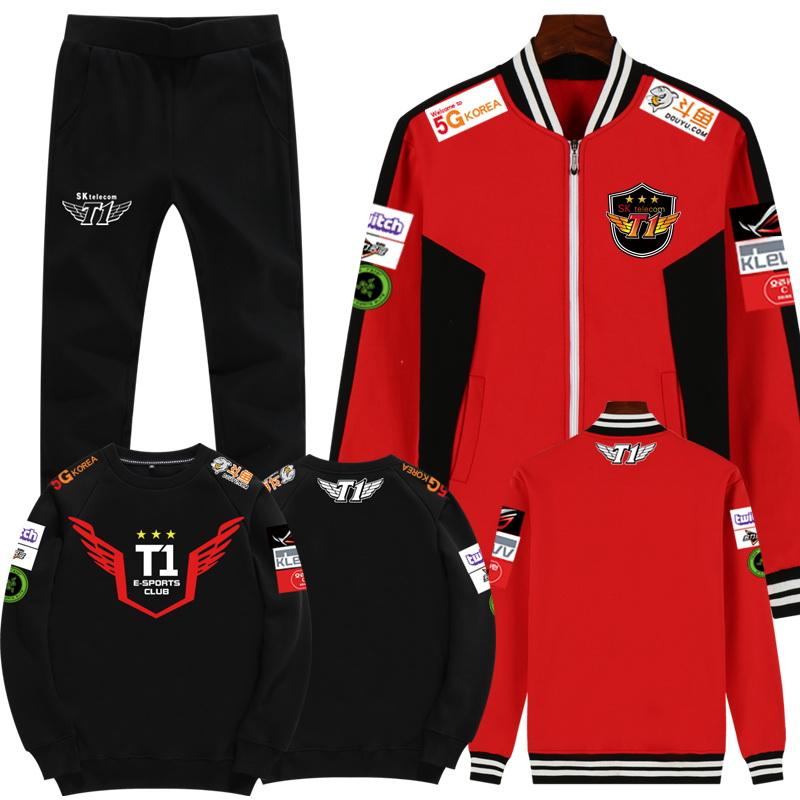 男士卫衣三件套 青少年加绒加厚卫衣男S10赛季SKT1战队队服冬季三件套运动套装男_推荐淘宝好看的男卫衣三件套